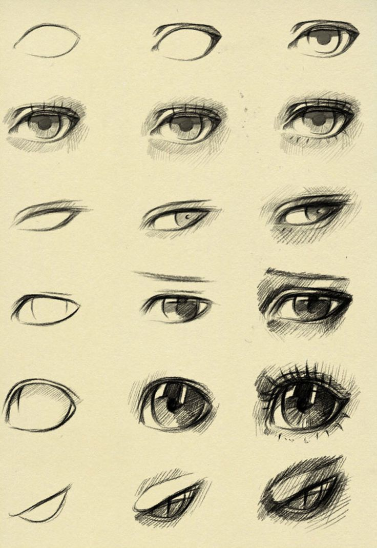 Eyes reference by ryky on @DeviantArt | スケッチ, イラスト 書き方, 目イラスト