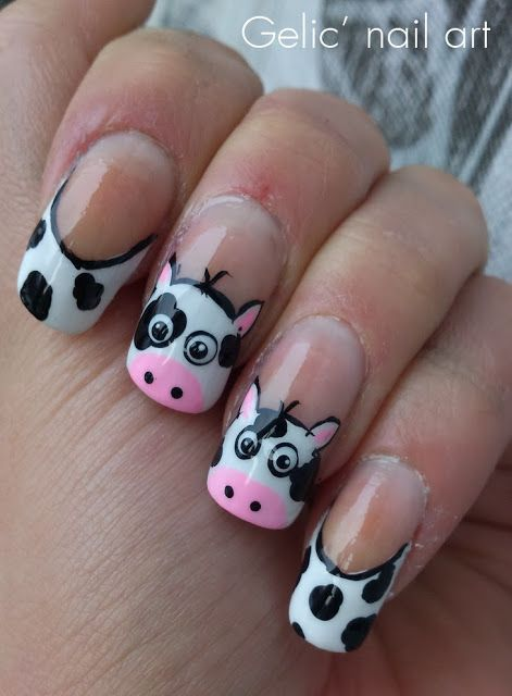 awesome Gelic' nail art: Cow funky french nail art for the Netherlands