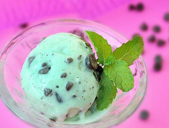 Mint chocolate almond milk ice cream. (recipe uses vitamix, trying it with ice cream maker)