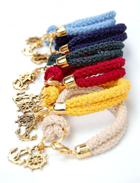 Nautical bracelet, deep red crochet, gold plated rudder and anchor - ready to ship on Etsy, $28.00