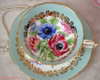 ON SALE Paragon Blue Teacup and Saucer Set With Anemone Flowers, English Bone China Tea Cup Set, Cabinet Collector's Cup, ca. 1960-1963