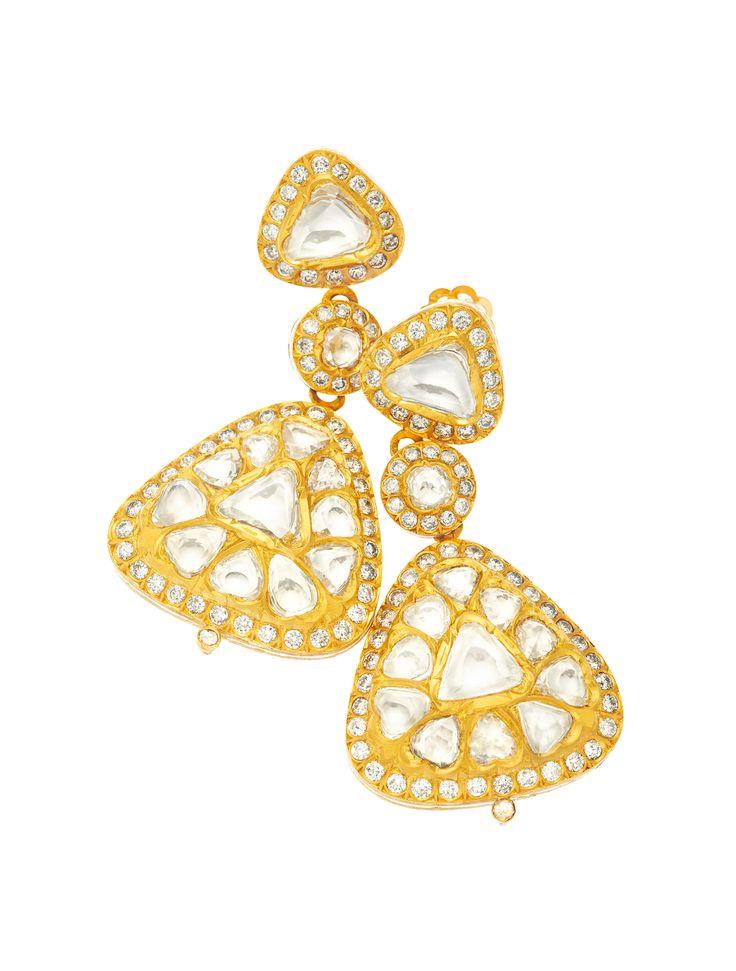 Rose and full-cut diamonds set in 22K gold earrings