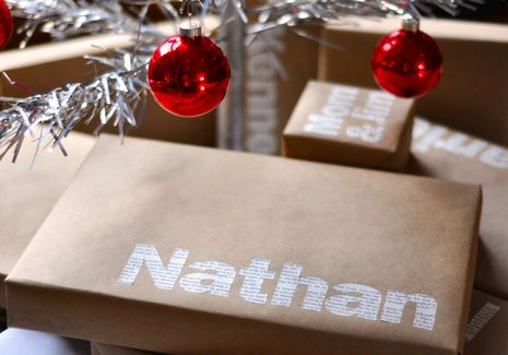 Simple yet unique gift wrapping idea (I actually did this for Christmas and it looked awesome!)
