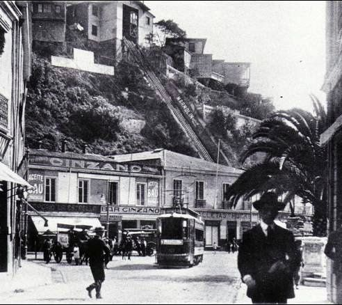 El bar Cinzano y el ascensor Esmeralda de Valparaiso 1920 by santiagonostalgico, via Flickr