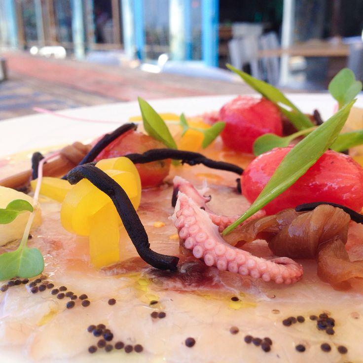 Caviar. Baby octopus. Sea bass. Greens. Daikon...