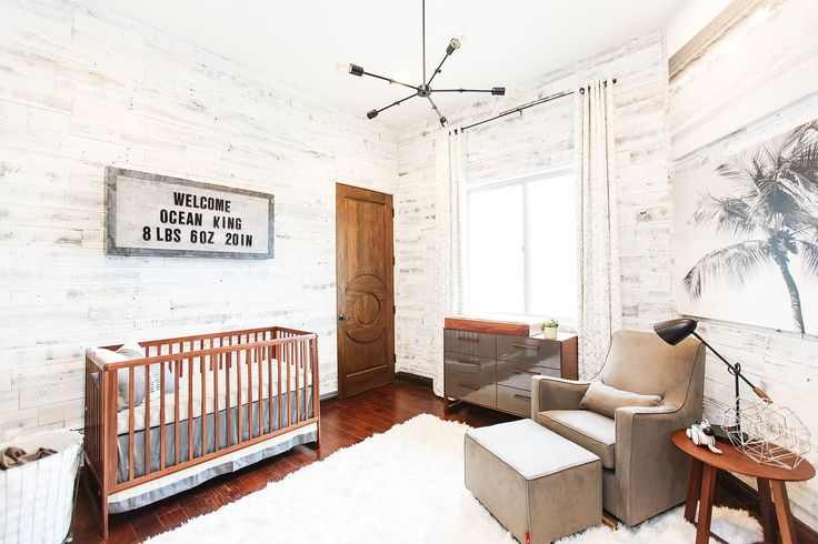 The Monte Design Luca Glider and Ottoman featured in Alexa & Carlos PenaVega's son Ocean's rustic nursery as seen in People Magazine. Christine Farah Photography