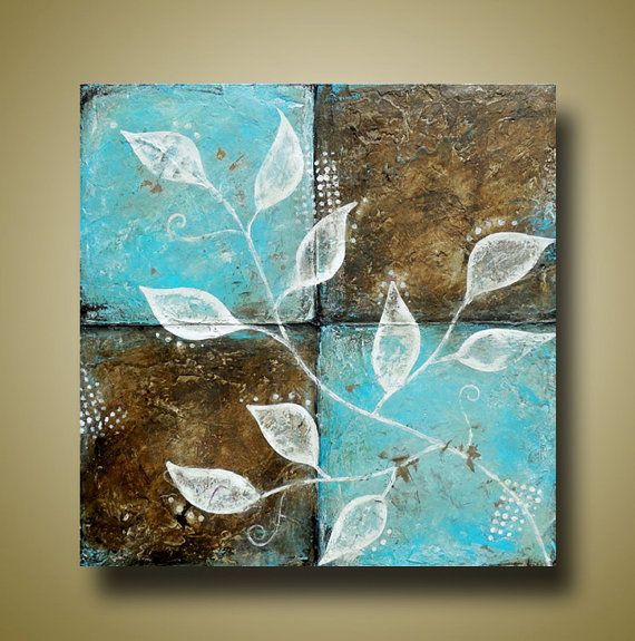 Abstract leaf painting heavily textured blue and brown for Textured acrylic abstract paintings