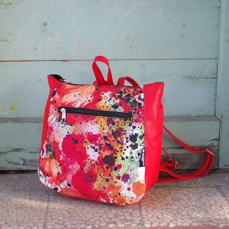 "Backpack ""Pollock1"" Energy red, passionate, warm, with possitive energy. Messy and lively touches give this bag a strong message of confidence. For you who dare!"