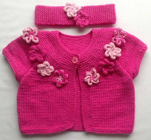 Baby Sweater Baby Cardigan Matching Hair Band Size by CJsHandknits, £31.97