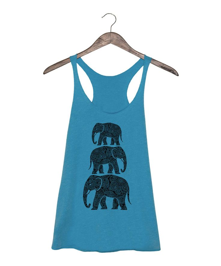Look what I found on #zulily! Turquoise Stacked Henna Elephants Racerback Tank by LC Trendz #zulilyfinds