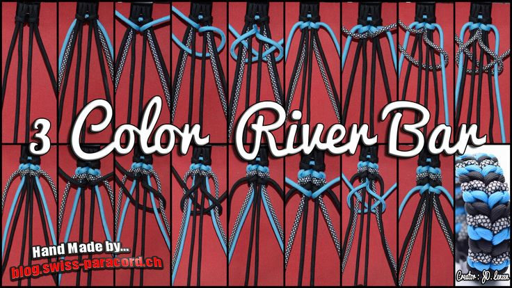 3 Color River Bar Tutorial   Swiss Paracord
