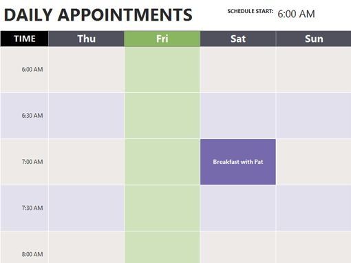 appt calendar template
