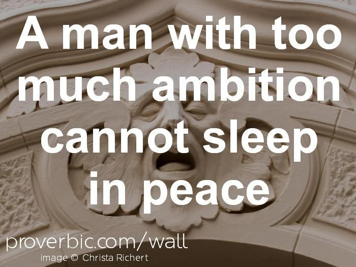 "Proverb of the day ""A man with too much ambition cannot sleep in peace""  #inspiration #quotes #winningstrategy"
