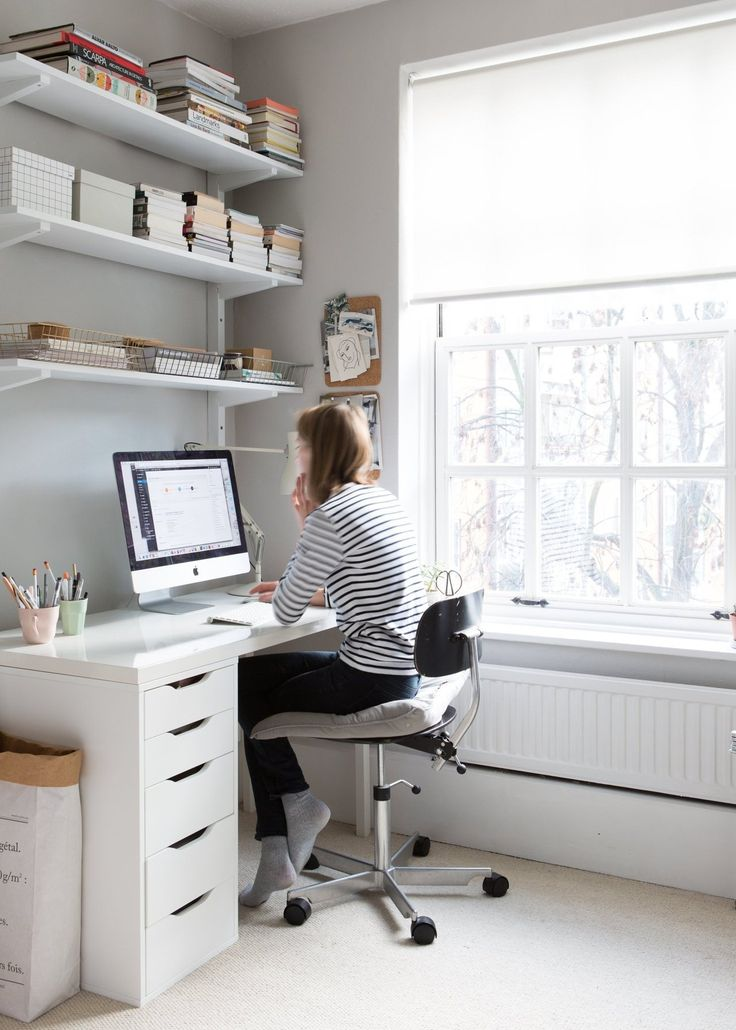 calm grey office space with ikea desk