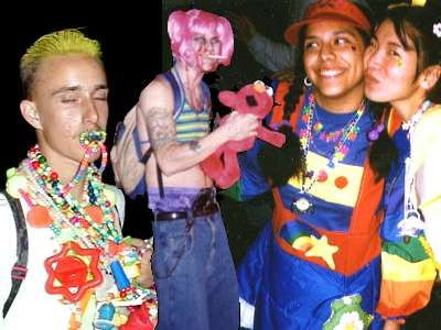 """1990s Raver fashion- """"Raves"""" were large dance partiesand the ravers wore brightly colored clothing, inspired by the hippies."""