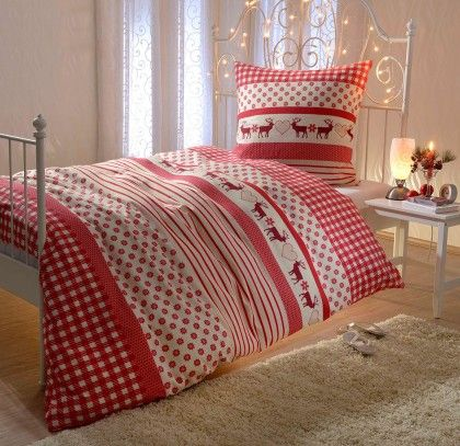 #beds #bedlinen Biber Bettwäsche Rentier 135x200 cm + 80x80 cm: Biber Bettwäsche Rentier mit Reißverschluss. Wer sich… #mattresses #pillows