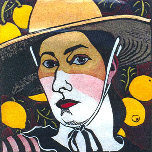 Self Portrait with Lemons by Kit Hiller - printmaker - Tasmanian artist