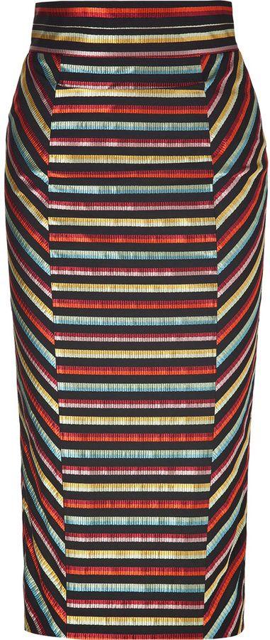 L'Wren Scott LWren Scott Black-Multi Striped High Waisted Pencil Skirt on shopstyle.com