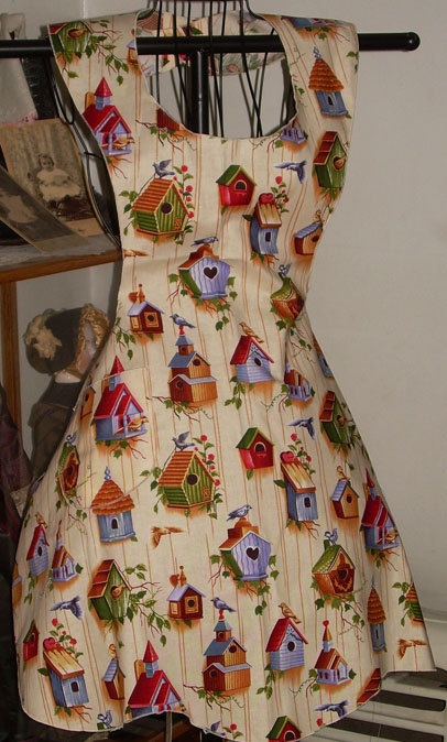 Retro 50's Style bib diner Apron Country Birdhouses  by SusyBs, $16.50