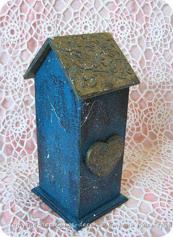 Декор предметов Декупаж Чайный домик Бирюзовый узор Дерево Краска фото 4