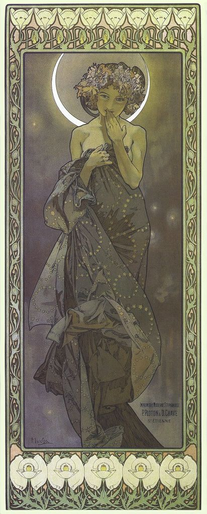 Alphonse Mucha ~ The Moon and the Stars 'The Moon' 1902