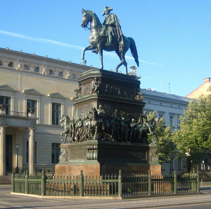 Statue of Frederick the Great (King of Prussia, 1740-1786), on Unter den Linden, Berlin. The statue was originally commissioned by Frederick William IV, to commemorate Frederick's 100th birthday. The statue was taken down during the war, and is in jeopardy during the GDR of being melted down, and was only saved by a group of East German bureaucrats. After the GDR changed their minds about Frederick and decided that he was actually a communist, he was restored in 1985.