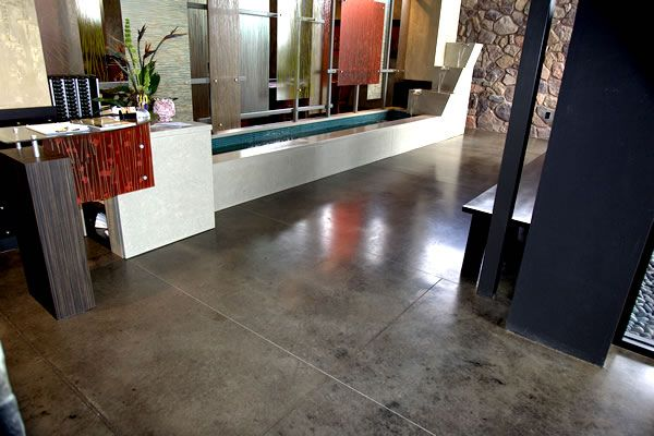 Gray brown stained concrete floors residential floors for Black stains on concrete