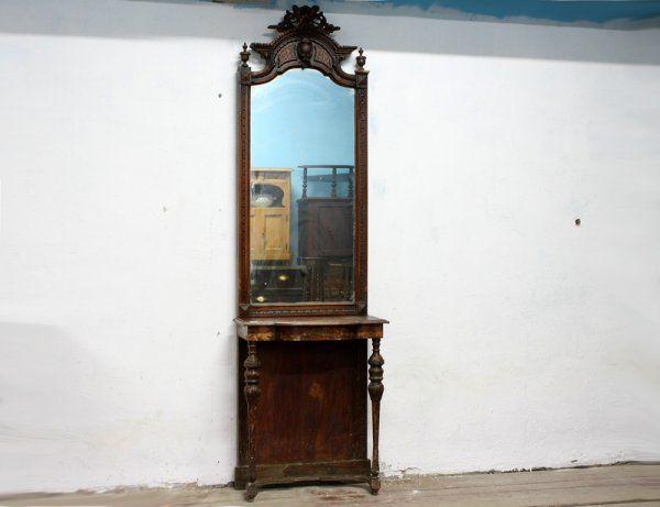 Старинное зеркало с консолью