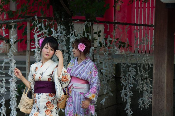 Beautiful Japanese girls get on their best yukatas for the Matsuris (festivals) in Kyoto