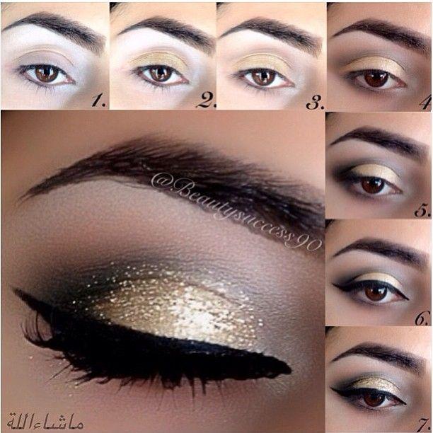 Golden smokey eye for brown eyes tutorial