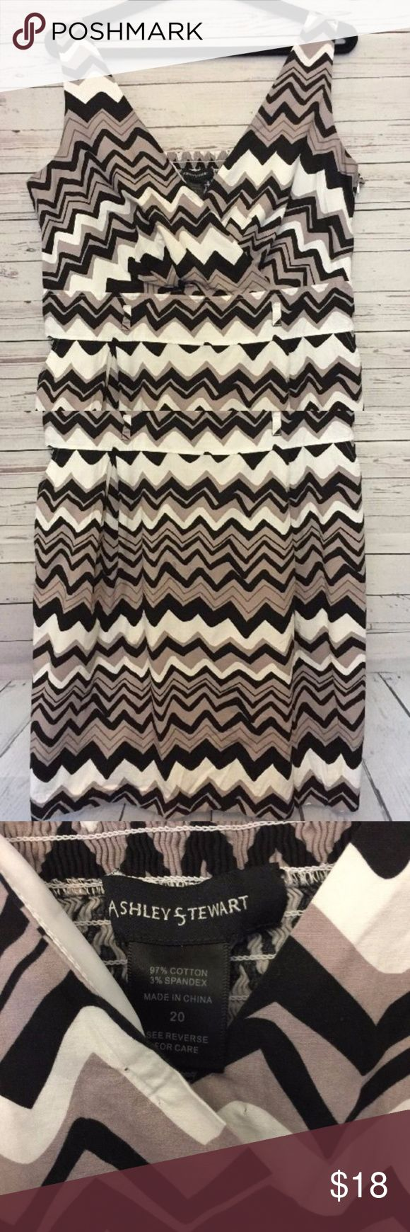 Ashley Stewart Plus Size Chevron Dress Bus 21 in, Length 40 in. Ashley Stewart Dresses Midi