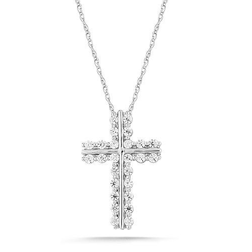 """10k White Gold Diamond Cross Pendant Necklace (1/2 cttw, I-J Color, I2-I3 Clarity), 18"""" Amazon Curated Collection. $550.00. The total diamond carat weight listed is approximate. Variances may be up to .05 carats.. All our diamond suppliers certify that to their best knowledge their diamonds are not conflict diamonds.. Made In India. Save 58% Off!"""