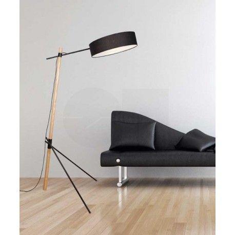 Επιδαπέδιο φωτιστικό 1597 3L ξύλινο με ύφασμα μαύρο