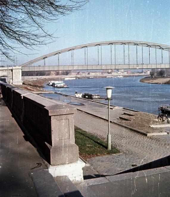 Szeged, Korányi fasor, Tisza-part a Belvárosi híddal.