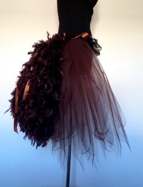 Brown Steam Punk Feather Burlesque Bustle Belt by thetutustoreuk