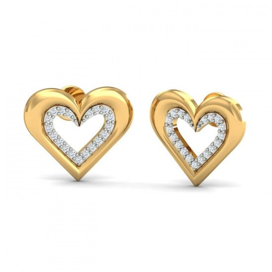 The pair of stud earrings is made on two planes, one consisting of the lower plain where diamonds are studded and the second plain consisting of the dome shaped outer heart. Very stylish and desirable. Go ahead & customize it with options in Gold Purity (18K, 14K), Diamond Grade (SI-HI, VS-GH, VVS-GH) & Metal Colour (Yellow, White, Rose) of your liking. Create your own unique jewelry. #Heart #Diamond #Gold #Stud #Earrings