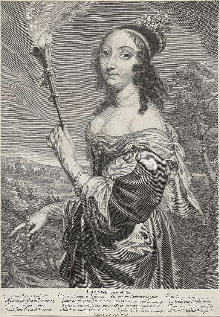 L'Aurore ou le Matin (Queen Marie Louise Gonzaga as Aurora-Morning) from a set of four Times of Day by Jeremias Falck Polonus and Jean Leblond I, ca. 1646 (PD-art/old), Rijksmuseum