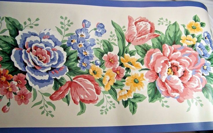 Waverly Wallpaper Border Blue Pink Yellow Floral Garden 2 rolls  10 yards 554180 #Waverly