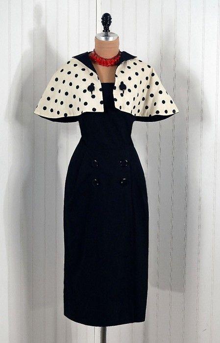 1950s dress via Timeless Vixen Vintage with gorgeous cape sleeves