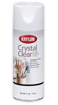Crystal Clear Acrylic  Clear, protective spray finish for all kinds of arts, crafts, and home décor projects.        Permanent, protective gloss finish      Non-yellowing      Moisture-resistant    Dry to Touch      10 -15 minutes  Dry to Handle      2 hours    For use with      Wood, Metal, Wicker, Plastic, Glass, Plaster, Ceramic, Paper, Paper Mache, Dried/Silk Flowers.