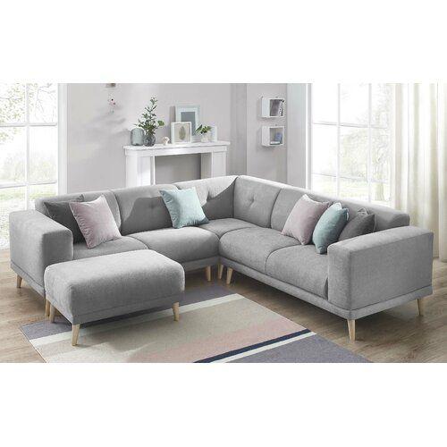 Ecksofa Angelica Zipcode Design Polsterfarbe Hellgrau In 2020 Sectional Sofa Sofa Furniture