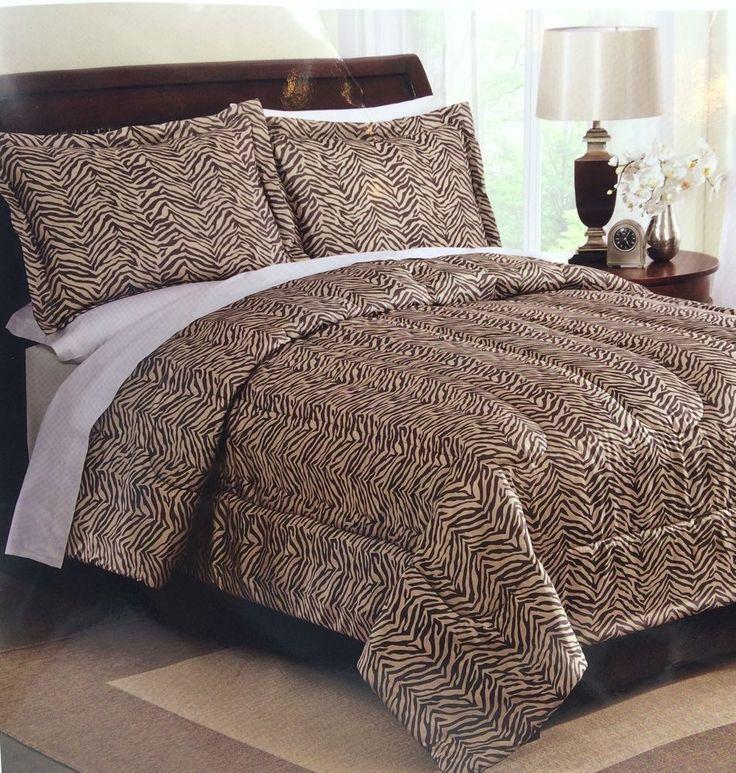 Queen full comforter set zebra animal print in beige cream 3 pc queen zebras and chang 39 e 3 - Cheetah print queen comforter set ...