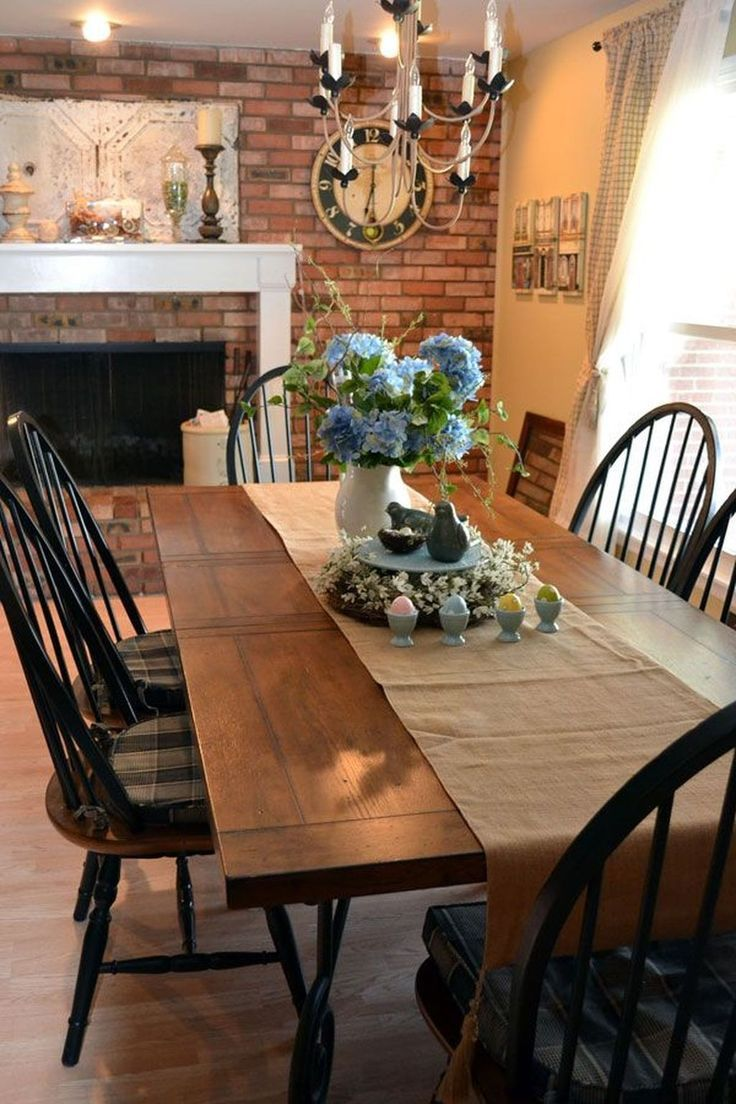 Pinterest Dining Room Fireplace Rustic Table Decor
