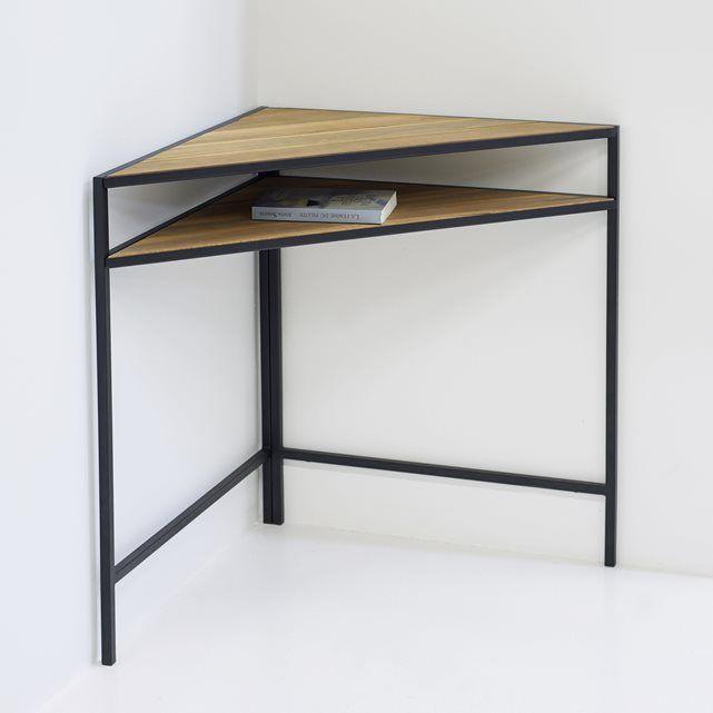 Image Table de jardin d'angle en métal et acacia La Redoute Interieurs