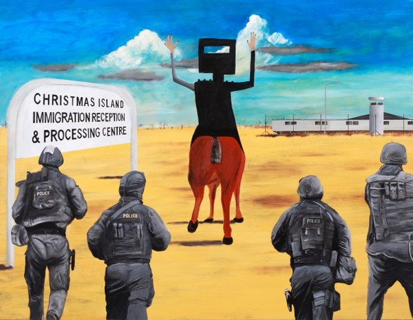 Sydney Nolan's Ned Kelly has sadly submitted to the might of modern policing and is off like so many others for a lovely island vacation.       Follow the link for full details and magnified images. Original - Available. Limited Edition Signed Print $165