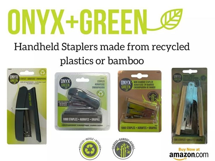 Staplers made from recycled plastics or bamboo! #onyxandgreen #officesupplies #schoolsupplies #ecofriendly  Www.amazon.com/shops/onyxandgreen