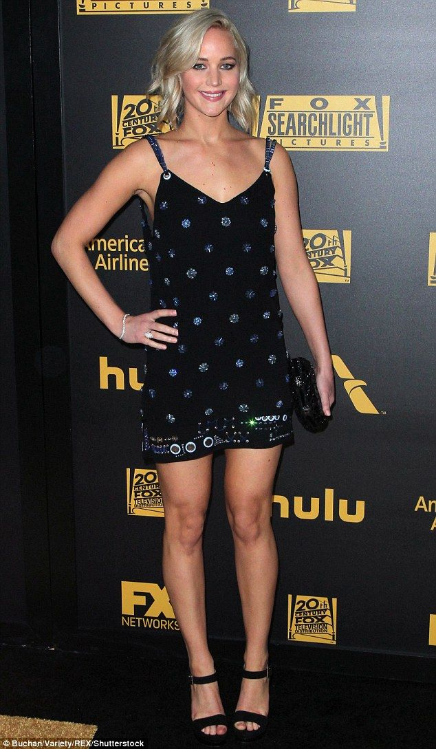 Celebrating in style! Jennifer Lawrence looked utterly sensational in a tiny LBD as she he...