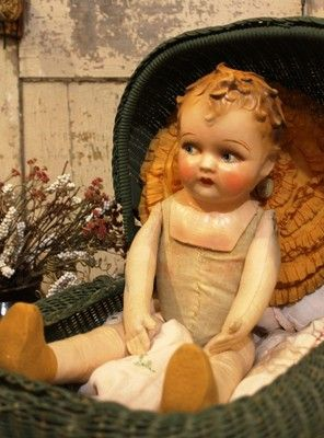 "Big 22"" Old Antique Papier Mache and Cloth Baby Doll in Vintage Clothing 