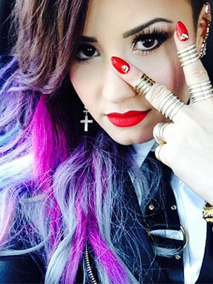 In honor of Ultra Violet...The 10 best purple-haired celebrities: Demi Lovato and her dip-dyed style