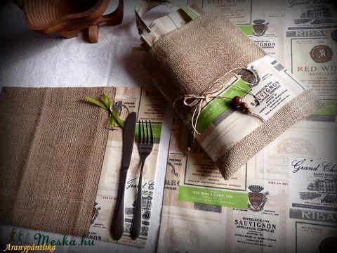 4 személyes tányéralátét szett asztali futóval, kis táskában (zsákvászon,pamutvászon) (Aranypantlika2014) - Meska.hu